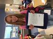 A student from Love Creek Elementary with her handwritten note