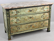 18th-century hand paint-decorated Italian marble top chest