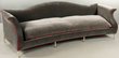 Christopher Guy mid century-style upholstered sofa in grey with red pinstripes