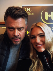 Actor Josh Duhamel and Toneata Morgan, Miss Oregon USA 2018 are gifted with Haracoin Cryptocurrency at the Music Lodge Gifting Suite at Sundance Music Festival.