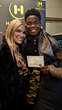 Miss Oregon Toneata Morgan with Maze Runner Star Dexter Darden at Music Lodge Gifting Suite at Sundance Film Festival.  Dexter gifted with Haracoin cryptocurrency.