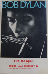 Original Boxing Style 1966 Bob Dylan Richmond Virgina Mosque Concert Poster