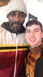 Logen Pickett of 3Dimensional snaps a selfie with actor Idris Elba at the Music Lodge during the 2018 Sundance Film Festival