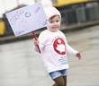 Ruby Kelly (age 2) takes to the streets, petitioning for financial education to be made compulsory in UK primary schools