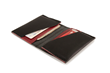 Via leather billfold wallet—interior view; black leather with red leather accents