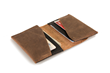 Via leather billfold wallet — grizzly distressed leather with black leather accents; interior