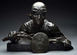 Bronze Bust of Motorcycle Racer, estimated at $4,000-6,000.
