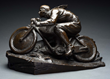 Full Figure Bronze Motorcycle Statue, estimated at $4,000-6,000.