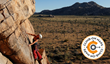 Stefani Dawn, co-owner of Climb-On Maps, climbing at Joshua Tree