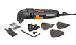 WORX 3.0 Amp Oscillating Tool with 9 Accessories includes a 1-3/8  inch standard wood end-cut blade, sanding pad, rigid scraper, six sanding sheets and Allen key.
