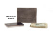 Via leather billfold wallet—grey leather, shown with potential contents