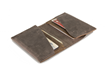 Via leather billfold wallet—interior view; grey leather with grizzly accents