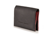 Via leather billfold wallet—black leather with red leather interior accents