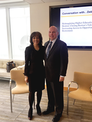 Cambridge College President Deborah C. Jackson with Greenberg Traurig Boston's Terence P. McCourt.