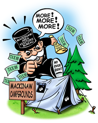 Political Cartoon illustrating the unfair treatment of Mackinaw City Campgrounds by the Mackinaw Visitor's Bureau