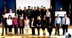 Graduating interns of Northrop Grumman's HIP (High School Involvement Partnership) program and SBWIB's Aero-Flex Pre-Apprenticeship program posed at their graduation ceremony at Northrop Grumman Corporation in Redondo Beach, CA.
