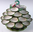 19th C. Majolica tiered revolving oyster server