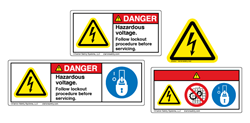 Examples of a few of the many best practice options for product safety label symbols and formats allowed by the ANSI and ISO standards
