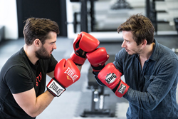 Lubo Smid, CEO of STRV, and David Semerad, CEO of STRV Labs, competing in box