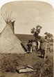 """Elk Skin Tent"": Photo of an elk-skin tent and ""U-in-tats"" Indians living in the Uinta Valley on the Western slope of the Wasatch Mountains of Utah (as described on the original label)."