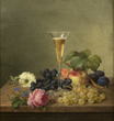 Emilie Preyer (German, 1849-1930), still life of fruit with champagne glass, oil on canvas