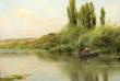 """- Emilio Sanchez Perrier (Spanish, 1855-1907), """"Les Peupliers"""", oil on wood panel"""