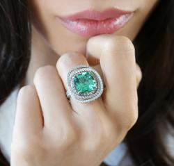 Asscher Cut Mint Tourmaline Ring