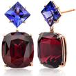 Rhodolite Garnet and Tanzanite Earrings