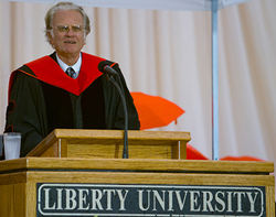 Billy Graham spoke at Liberty University Commencement in 1997.