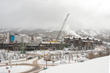 The construction crane goes up after the recent snowfall on One Snowmass – the latest project now underway at Snowmass Base Village.