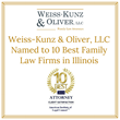 Elmhurst, Illinois, Firm Weiss-Kunz & Oliver, LLC, Named to 10 Best Family Law Firms in Illinois
