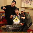 Design Artist Damian Santamaria presents Eric Howk and Zach Carothers of Portugal. The Man with a band inspired lithograph.