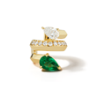 Rival 18K Gold, Diamond, and Emerald Ear Cuff by Valani