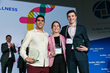 "The ""Shark Tank of Wellness"" Finalists at the 2017 Global Wellness Summit. From left to right: Mikey Ahdoot (University of Southern California, USA), Jarrod Luca (Florida State University, USA), and M"