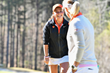 Kennedy Swann smiles at Head Coach Kelley Hester - 2017 Clemson Invitational