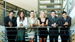 Group of young professionals standing over balcony