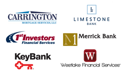 Logos: Carrington Mortgage Services, KeyBank, Merrick Bank, First Investors, Limestone Bank, Westlake