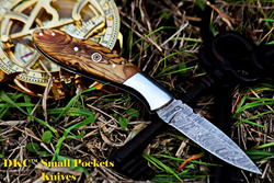 LITTLE JAY Damascus Folding Pocket Knife Olive Wood - Perfect Gift for Grandsons