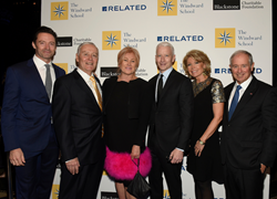 Hugh Jackman, Dr. John J. Russell, Head of The Windward School, and Deborra-lee Furness with honorees Anderson Cooper and Christine & Stephen A. Schwarzman at The Windward School Benefit. (Honorees not pictured: Drs. Sally & Bennett Shaywitz)