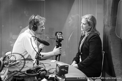 "Podcast host Monty Waldin recording episode 86 with Alison Napjust (Senior Editor at Wine Spectator) as part of the new ""Let's talk wine biz – wine2wine series"""