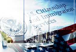 H-1B Visa - E&M Mayock Immigration Attorney - USCIS and Flag overlay on New York City Skyline