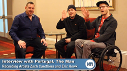 "Recording artists Eric Howk and Zach Carothers of the band ""Portugal. The Man"" spend time with NTI's Director of Marketing Michael Sanders to discuss the bands active part in social justice, music, disability, and the Woodstock Tour."