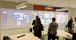 Students using the Nureva visual collaboration system in the Active-Learning Classroom at Dawson College.