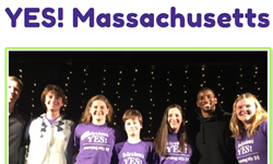 Group photo of teens in purple shirts with Yes Massachusetts sign.