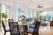 Open concept dining and living spaces with beautiful furnishings