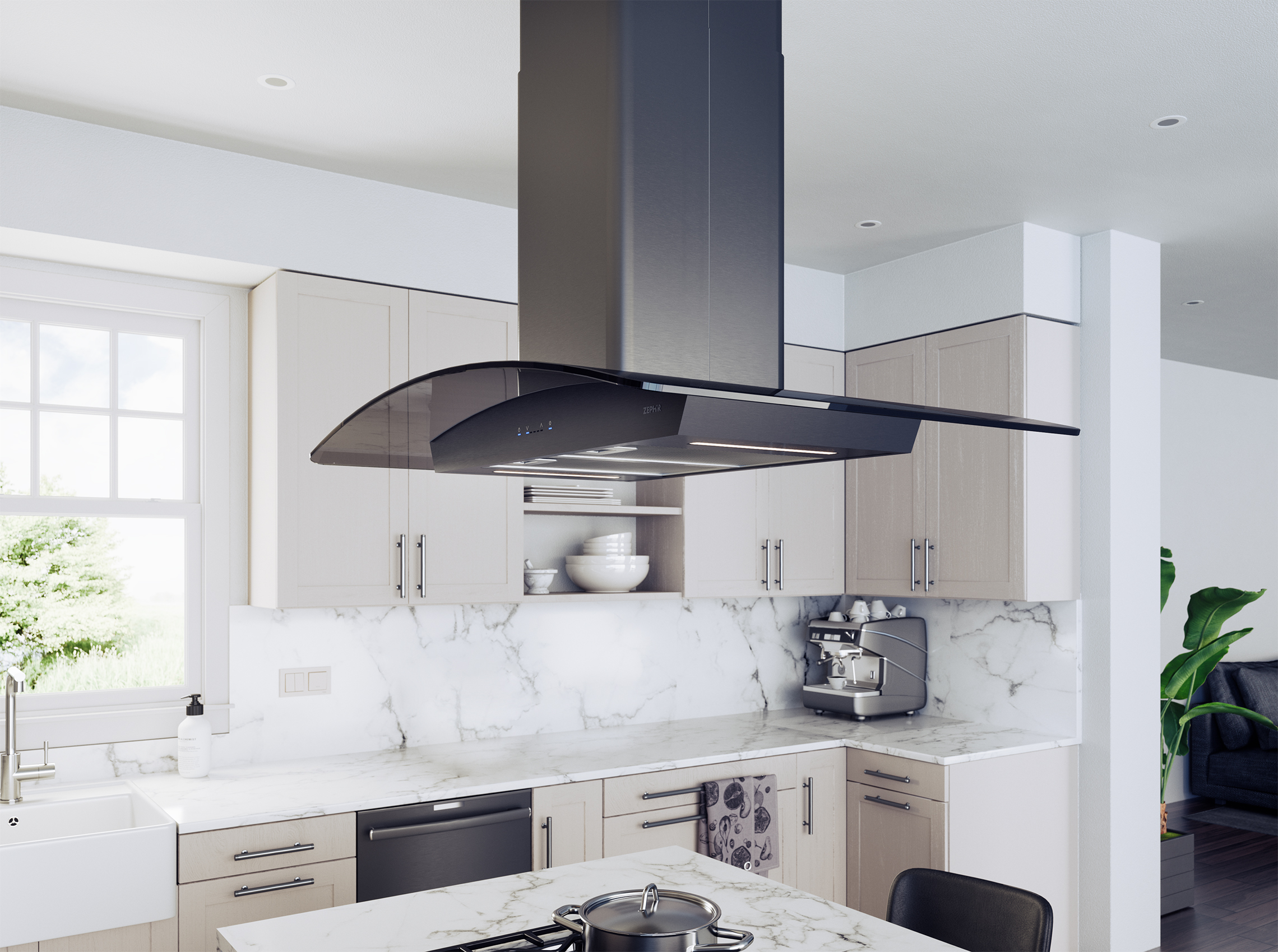 Zephyr Introduces First Black Stainless Steel Island Hood