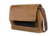 Rough Rider Leather Laptop Messenger— black full-grain leather accent panel