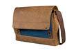 Rough Rider Leather Laptop Messenger—blue, full-grain leather panel