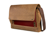 Rough Rider Leather Laptop Messenger—crimson, full-grain leather accent