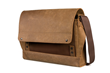 Rough Rider Leather Laptop Messenger — full-grain leather accent panel in espresso